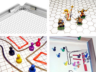 Applications: Holding frame. Cover- and transparent sheets with grids writable. Make your own pawns with magnets.