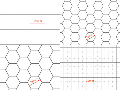 Various transparent sheets with grids: You can order customised transparent grid sheets.