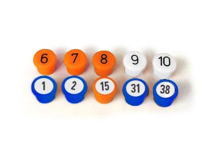 10 Magnet-Buttons, in verschiedenen Farben nach Wahl, 10 mm.