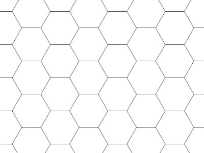 Transparent Grid Sheet A2 (59,4 x 42,0 cm) Hexagon 15 mm