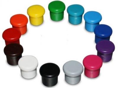 10 Magnet-Buttons, einfärbig, 10 mm.