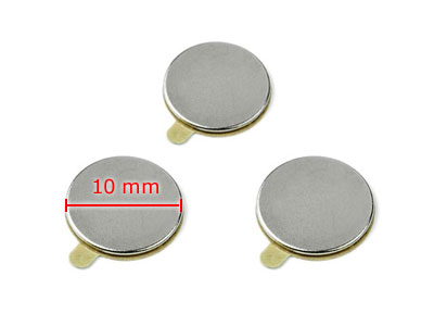 20 Magnets, round, 10 x 1 mm, selfadhesive