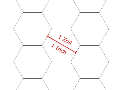 20 Pcs. GAMER-PAPER,  Graph paper A1 (84,1 x 59,4 cm), White, Hexagon Grid 1 Inch