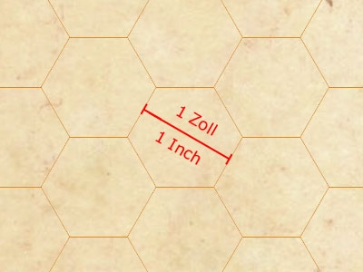10 Pcs. GAMER-PAPER A1, Parchment Stil, Hexagon Grid, 1 Inch