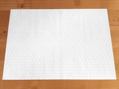 10 Pcs. GAMER-PAPER A1 (84,1 x 59,4 cm), White, Hexagon Grid, 1 Inch
