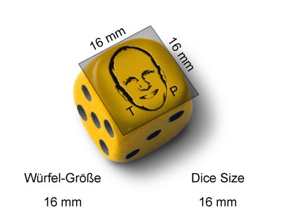 5 Dice with Gamer Portrait Engraving